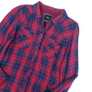 Rails Red Blue Plaid Button Up Long Sleeve Top